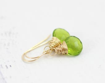 Green Gemstone Earrings, Peridot Green Earrings, Gold Earrings, Wire Wrap Earrings, Small Dangle Earrings, Quartz Earrings, Bright Green