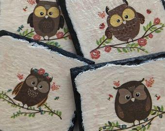 Set of 4 - Natural Slate Cute Owl Coasters