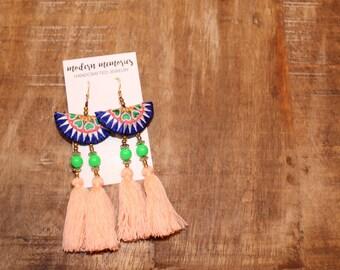 Boho Cotton Tassel Earrings | Baby Pink Tassel Earrings | Colorful Boho Earrings, Tassel Dangle Earrings, Tribal Earrings