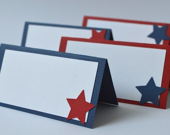 Fourth of July Red White and Blue Star Food Labels