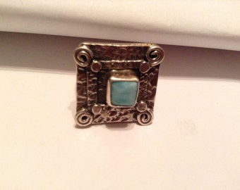 Larimar and sterling Ring, Size 7.5
