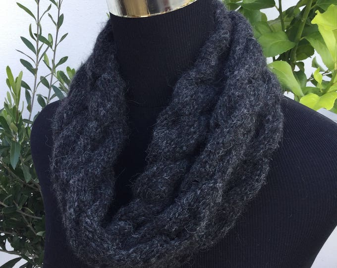 Ladies charcoal Alpaca luxury snood by Willow Luxury