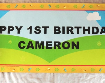 Happy Birthday Fabric Color Pooh Bear Banner Happy FIRST Birthday CAMERON