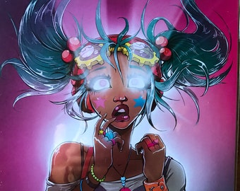 Raver Girl Print by Erin Greener