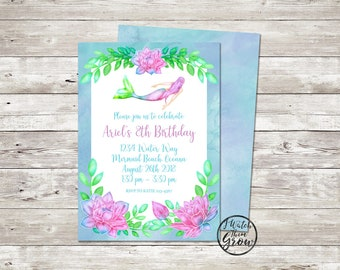 Mermaid Party Invitation, YOU EDIT + PRINT  Mermaid Birthday Party Invite & Patterned Backside, Printable 5x7 Inch Pdf Instant Download