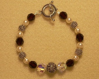 Birthstone Pearl Sterling Silver Bracelet with Swarovski Crystal Round and Bali Beads  - 7 1/2 inches with Toggle Clasp
