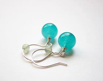 SeaGreen Murano Glass Earrings, Authentic Murano glass, Sterling Silver, handmade, ready to ship