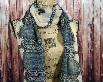 Ivory and Lace Print Fashion Scarf, Lightweight