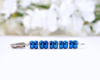 Blue Scarf Pin Blue Hijab Pin Blue Sarong Pin Blue Silver Brooch Beaded Hijab Pin Handmade