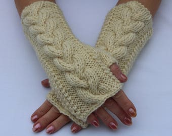 Fingerless Gloves Mittens.Knit.Cream Wool Arm/Wrist Warmers. Women's Winter Cable Gloves. Soft.Long.