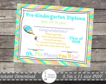 Oh the places you'll go, PRE-KINDERGARTEN Graduation, Certificate