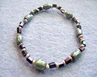 Multi Color mousseux gris vert Bracelet en métal argenté, ton bijou bijoux en perles de verre, perles Bracelet élastique, petite taille 6,5 pouces