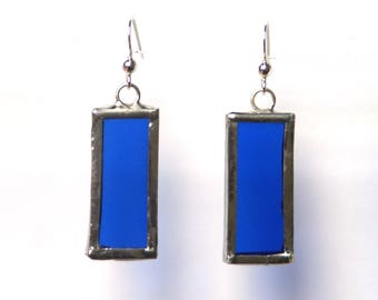 Stained Glass Earrings- Rectangle Medium Earring- Royal Blue Earring