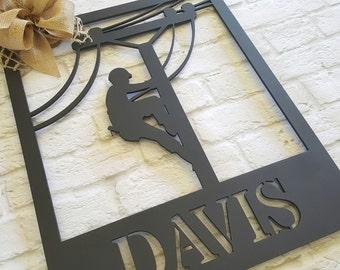 Linemen Wreath -Lineman Door Hanger - Wall Hanging - Housewarming Gift - Wedding Gift - Gift for Lineman