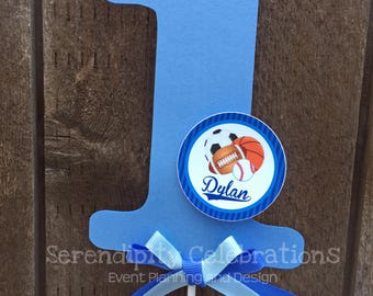 Cake Topper -Personalized Centerpiece -Sports -Birthday -Smash Cake Topper -Photo Prop -Made to Match -Number Cake Topper, All Star