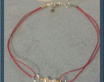 Red choker with pearls  Free shipping!