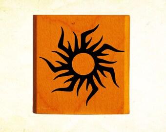 Blazing Sun Rubber Stamp Mounted Wood Block Art Stamp