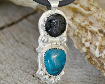 "Black moonface and shattuckite in sterling silver.   ""Thankful"""
