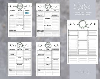 Essential List Set: To Do, Packing, Grocery, Cleaning and Blank Printables