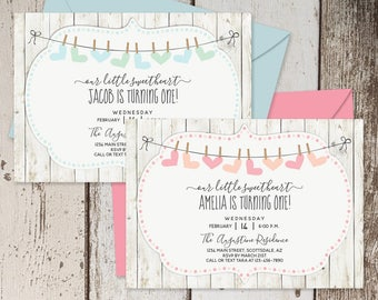 Printable Valentines Birthday Invitation Template - Girl & Boy 1st Birthday Party - First Sweetheart Theme Instant Download Digital File PDF