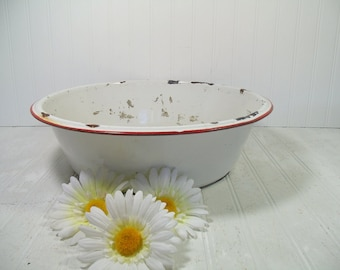 Round Metal Basin Very Large Antique Red on White EnamelWare - Vintage Oversized Bowl - FarmHouse Chippy Paint Decor - Will Not Hold Water