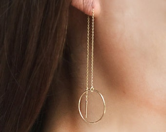 Circle Earrings, Gold Circle Threader Earrings, 14K Chain Earrings, Solid Gold Earrings, Gold Earrings, Gifts
