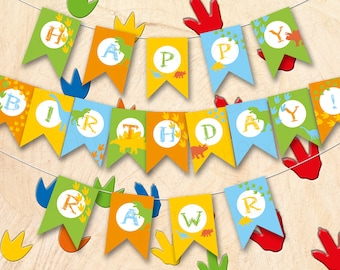 Dinosaur Printable Party Banners, HAPPY BIRTHDAY, Rawr, Instant Download, DIY