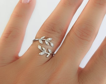 Silver Leaf Ring CZ Sterling Silver 925-Leaf branch ring-Silver adjustable ring-Leaves ring-Cuff silver ring-Silver Laurel ring-Nature Ring