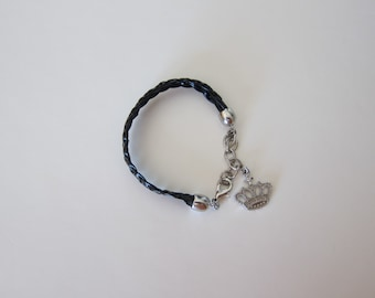 Two Strands Black Bracelet with Crown Tag