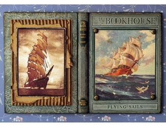 Mixed Media, assemblage,  sculpture ,upcycled book, book lover, Nautical, Sailing, recycled books, OOAK Original Artwork,1928 Flying Sails