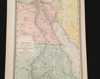 1887 Map of Egypt & Sudan, Original Antique Map, Large Map by Rand McNally, Antique Map for Framing