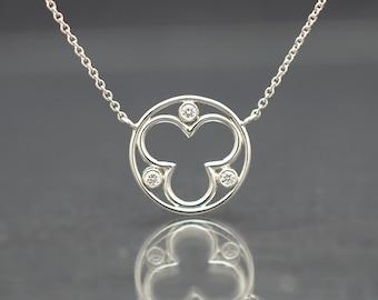 Diamond Necklace in White Gold Trefoil Design