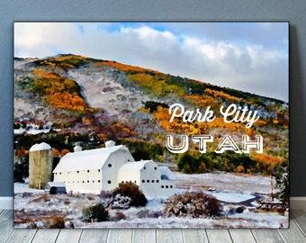 Park City, Utah  McPolin Barn Ski Photo Poster