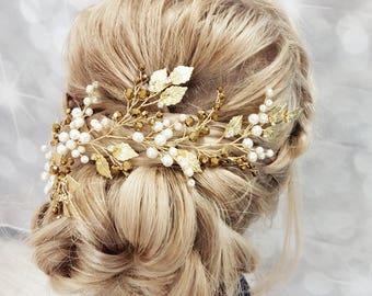 Ivory Gold Bridal hair piece, Gold Bridal headpiece, Gold Tiara, Gold Wedding Tiara, Gold Bridal Wreath, Gold Bridal Vine