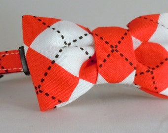 Cat Collar or Kitten Collar with Flower or Bow Tie  - Red and White Argyle
