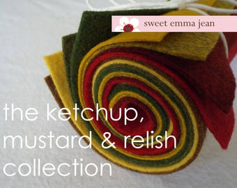 The Ketchup, Mustard and Relish Collection - 8 Sheets of 9x12 Wool Felt