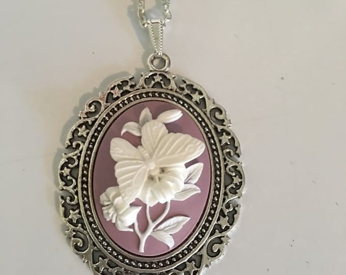 Butterfly Floral Lavendar Cameo Necklace-Purple Cabachon-