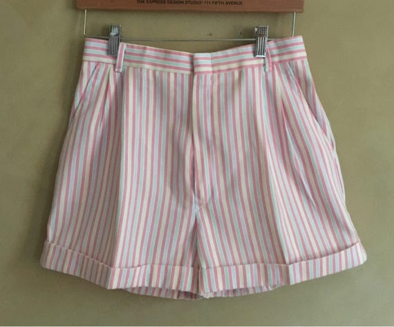 Vintage  Cotton Striped Shorts high waised