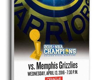 Golden State Warriors 73rd Win Canvas Mega Ticket - NBA Record