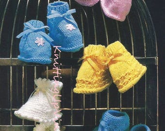 Baby Knitting Pattern pdf Vintage Bootees 1-18 mths  DK or 4 ply