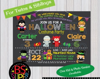 HALLOWEEN Invitation, Halloween Birthday Invitation, Costume Party Invitation, Halloween Party Invite 1st Birthday Girl Boy