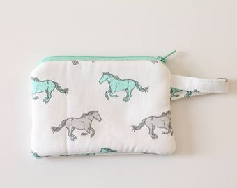 horse lover, Kids wallet, zipper pouch, Minimalist pocket wallet, Change purse, cash wallet, mini zipper pouch, earbud case, wallet for mom