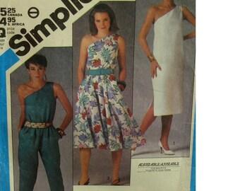 One Shoulder Womens Jumpsuit Pattern, Sundress, Capris, Straight Dress, Vintage 1980s, Simplicity No. 6449 Size 8 10