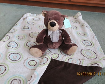 Baby Blanket-Brown- with Teddy Bear Stuffed Animal