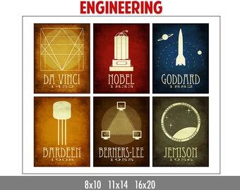 Engineering Gift - Engineer Poster - Teacher Gift  - Educational Art Print - Science Logo Poster - Geek Chic Gift - Steampunk Illustration
