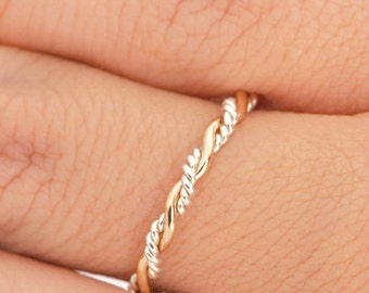 Twist Ring, Stacking Ring, Two Toned Ring, Stacking Rings, Twisted Ring, Gold Stacker Ring, Stackable Ring, Thumb Ring, Gift For Her