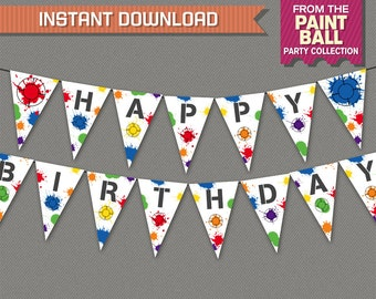 Paintball Party Birthday Banner with Spacers - INSTANT DOWNLOAD - Editable PDF file - Print at home - Paintball Birthday - Paintball Banner
