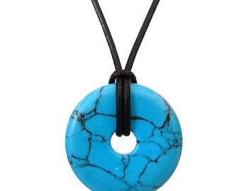 Chinese pi 30mm - turquoise donut pendant necklace