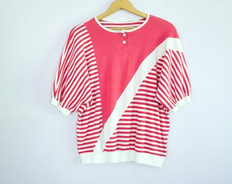 Vintage 1980's Oversize Batwing Hot Pink Striped Top L/XL