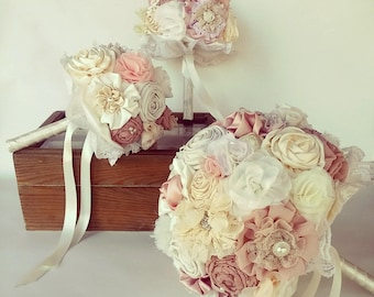 wedding bouquet set, fabric flowers bridal bouquet, bridesmaids bouquets, blush  ivory bouquet ,pink  rustic bouquet , vintage bouquet